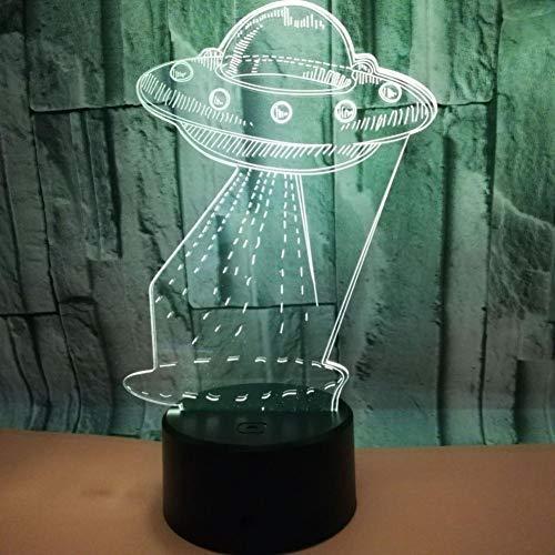 GCCQT Astronave Creatief 3D-nachtlampje, lednachtlampje met 7 kleuren en touch-schakelaar, oplaadbaar via USB, licht voor decoratie thuis en als cadeau voor liefhebbers, vrienden