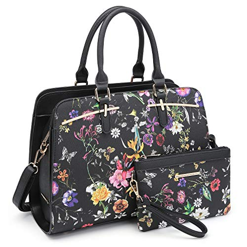 Dasein Women Satchel Handbag Shoulder Purse Top Handle Work Bag Tote Bag With Matching Wallet (Black Floral)