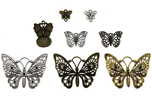 Set of 80 Mixed Antique Bronze Vintage Butterfly for Wedding Decoration Favor, Necklace Pendants, Jewelry Making