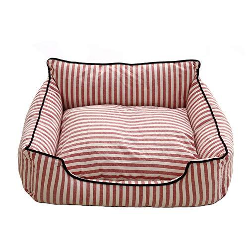 LIPETLI Hundebett Herausnehmbares und Waschbares Klassisch Gestreiftes Vierjahreszeiten Haustierbett,Pink,M