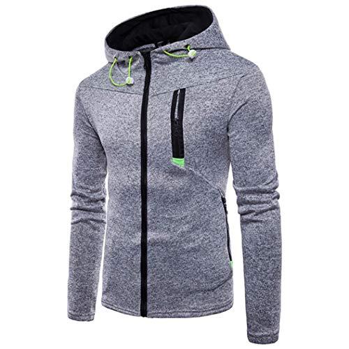 ZIYOU Herren Pullover Langarm Sweatshirt Kapuzen Hoodie Sportshirt mit Reißverschluss Outwear Jacke(L,Grau)