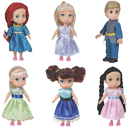 Liberty Imports Fashion Princess Toddler Mini Dolls 6 inches Collection Girls Gift Set (Pack of 6)