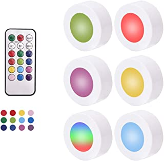 PATIOSNAP Night Light RGB LED Puck Lights with Remote Control, Wireless Battery Operated LED Lights Under Cabinet Lighting...