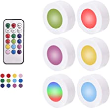 Innoo Tech Night Light RGB LED Puck Lights with Remote Control, Wireless Battery Operated Under Cabinet Lighting with Timi...
