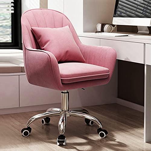 Silla de escritorio Silla de oficina Silla giratoria Silla giratoria de 360 ° con reposabrazos Silla de dormitorio de altura ajustable hecha de tela de franela delicada