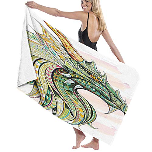 Celtic Printing 100% Microfiber Bath Towel, Head of Large Pool Towels (32'x 52'),Highly Absorbent,Light Weight,Soft and Quick Dry Swim Towels,for Men Women,Multicolor