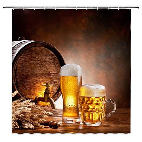 Ollt Coole Bier Duschvorhänge, Holz Wein Fass Weizen Warm Fashion Badezimmer Dekor, Home Bad Wasserdicht Polyester Hang Vorhang Set 180x200cm