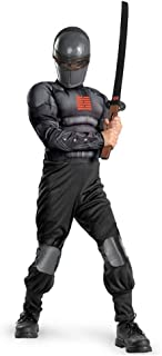 Disguise Boys GI Joe Movie Snake Eyes Light Up Deluxe Muscle Costume, Small/4-6