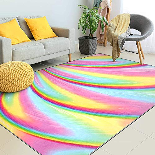 Kids Rugs for Girls Bedroom, Kids Rainbow Area Rugs Carpet with Non Slip and Fluffy Soft Design for Kids Play Room , Nursery, Toddler and Home Decor(6.5 x 5 Feet)