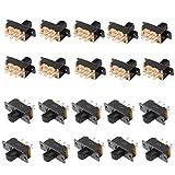 Qiying SS22F25-G4 2-Position DPDT 2P2T Panel Mount Mini Slide Switch Soldering Lug 20Pcs