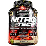 Whey Protein Powder | MuscleTech Nitro-Tech Whey Protein Isolate + Peptides | Lean Protein Powder with Creatine | Sports Nutrition Protein + Muscle Builder for Men & Women | Vanilla, 4 lbs (40 Serv)
