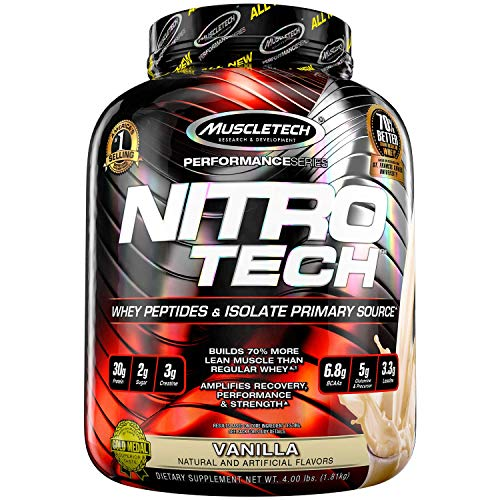 Protein Powders, MuscleTech Nitro-Tech Whey Protein Powder + Creatine Monohydrate, Whey Isolate + Peptides, Protein Shakes for Men & Women, 6.8g of BCAA, Vanilla, 1.8 kg (40 Servings)