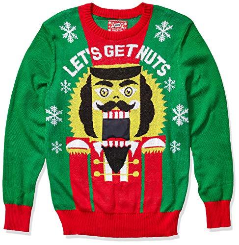 Hybrid Apparel Suéter masculino feio de Natal com gravador de voz, Nutcracker-vr/Green, XX-Large