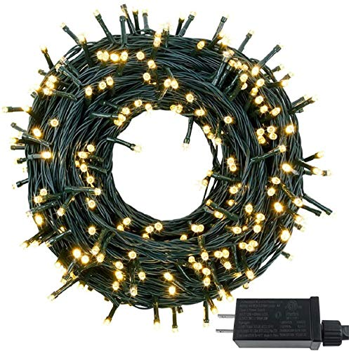 Albelt Extra-Long Green Wire 147FT 400 LED Christmas String Lights, Ultra-Bright Christmas Tree Lights Waterproof 8 Modes Plug in Fairy String Lights for Garden Wedding Party (Warm White)