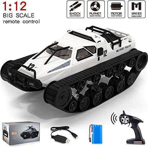 RC Truck, 1:12 Scale Remote Control Tank Car with Rechargeable Battery, 4WD High Speed, 2.4GHz Radio Controler, Play Gifts for Boys(White)