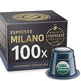 100 Organic Nespresso Compatible Capsules - Extra Strong Espresso Milano