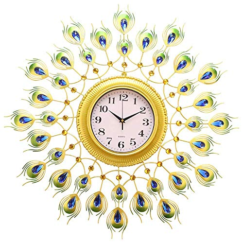 cjcaijun Reloj de Pared Reloj de Pared de Acero Inoxidable en Forma de Cola del Pavo Real Cubierta Salón Dormitorio