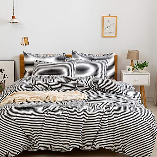 JELLYMONI 100% Natural Cotton 3pcs Striped Duvet Cover Sets,White Duvet Cover with Black Stripes Pattern Printed Comforter Cover,with Zipper Closure & Corner Ties(Queen Size)