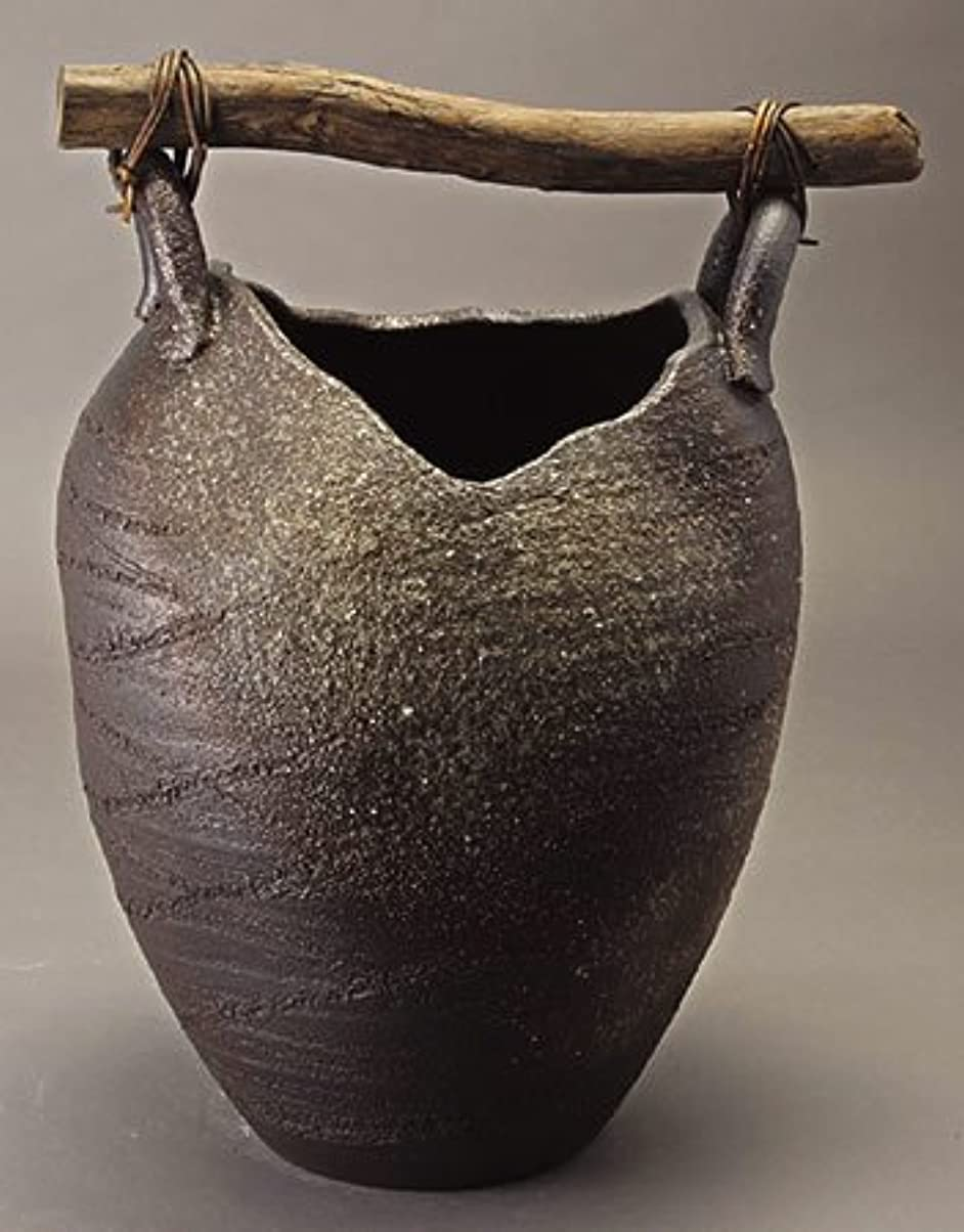 盆地エゴイズムアラート信楽焼陶器 傘立 壺型流木傘立 高さ47.0cm 344-02