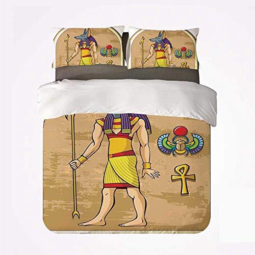 Miwaimao Bedding Bettwäsche-Set,Ägyptische Dekorgrafik von Anubis des Alten...