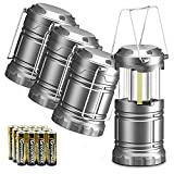 WdtPro 4 Pack Camping Lantern with 12 AA Batteries, 500LM Ultra Bright LED Lanterns, Collapsible,...