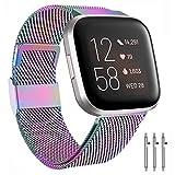 BeYself Cinturino per Fitbit Versa, Cinturino in Metallo con Blocco Magnetico Unico per Fitbit Versa/Versa Lite Edition (S/Colore)