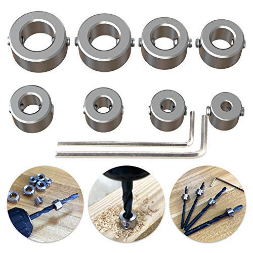 304 Stainless Steel Stop Bit Collar Set Drill Tool for 3mm, 4mm, 5mm, 6mm, 7mm, 8mm, 9mm, 10mm Diameter Drill Bits 8Pcs by ROOCBIT