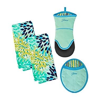 4 Piece Fiesta Kitchen Set - 2 Calypso Terry Towels, Puppet Oven Mitt, Oval Pocket Mitt (Turquoise)