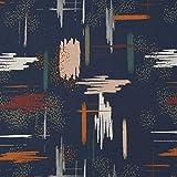 SCHÖNER LEBEN. French Terry - Sudadera de verano (1,45 m de ancho), diseño de lunares, color azul oscuro y naranja