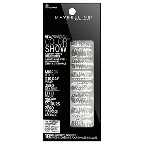 Maybelline Limited Edition Color Show Fashion Prints Mirror Effect Nail Stickers - 60 Frayed Foils by Maybelline (English Manual)