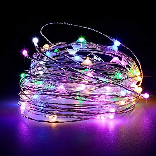 MOUNTIAN Stringa Leggera di Rame Telecomando 8 Funzioni 3Aa Batteria Stagna/USB Luce di Rame Natale LED Filo di Rame Decorativo Stringa Leggera 5 M (50 luci PCS) + Battery Box Colorato