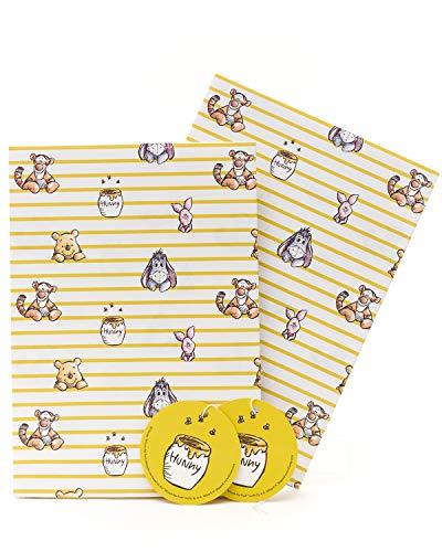 Geschenkpapier für Kinder, Geschenkpapier für Kinder, Winnie Puuh, 2 Bögen und 2 Anhänger