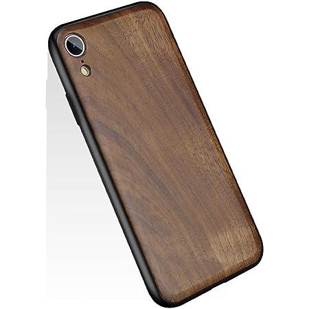 YUYIB iPhone XR ケース 高級天然木製 木 ウッド ハードケース 衝撃吸収 落下防止 防指紋 携帯カバー ソフトパンバー+ハード木製パネル iPhoneケース (iPhone XR, くるみの木1)
