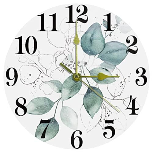 EZIOLY Akwarela zielone liście bukiet ziół zegar ścienny, 25 cm cichy nietykający kwarcowy zasilany bateriami okrągłe zegary ścienne do domu / kuchni / biura / szkoły zegar