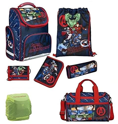 Familando Avengers Schulranzen-Set 7-TLG. mit Sporttasche Federmappe Regenschutz