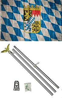 ALBATROS 3 ft x 5 ft Bavaria Bavarian Crest Flag Aluminum with Pole Kit Set for Home and Parades, Official Party, All Weather Indoors Outdoors