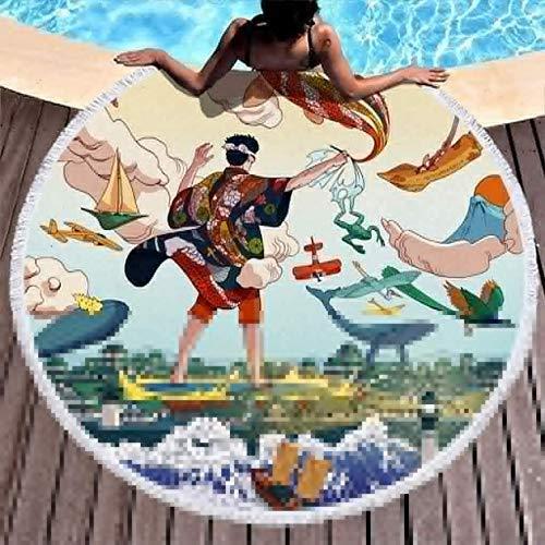 Toallas de Playa Pintor japonés Vintage Great Wave Koifish Toalla de Playa de Gran tamaño para el baño/la Piscina/la Playa/Las Horas de Picnic