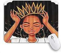 PATINISAマウスパッド アフリカ系アメリカ人女性の女の子とクラウンアフロガールズアフリカの女王姫 ゲーミング オフィ良い 滑り止めゴム底 ゲーミングなど適用 マウス 用ノートブックコンピュータマウスマット