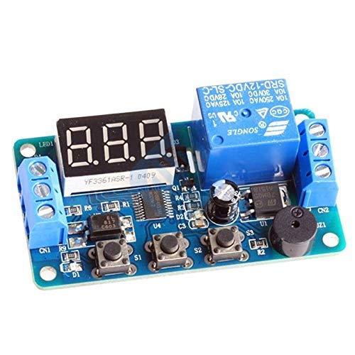 Pantalla LED digital Placa de módulo de relé de retardo de tiempo DC 12V Interruptor de temporizador de control Módulo de ciclo de disparo Zumbador de coche Automatización de PLC