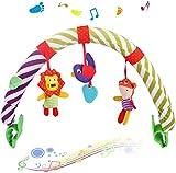 Baby Bogen Spielzeug, Kinderwagen-Spielbogen mit Rassel-Spielzeug, Mobile-Kette mit niedlichen Figuren zum Aufhängen an Kinderwagen, Babyschale oder Kinderbett, 0+ Monaten (Waldtier-Serie)