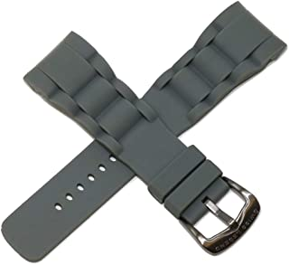 Swiss Legend 29MM Gray Silicone Rubber Watch Strap Stainless Gunmetal Buckle fits 47mm Commander Watch