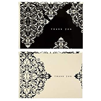 Hallmark 50 Assorted Thank You Cards Black and White Ivory Scroll  Boxed Set of Cards with Envelopes for Weddings Showers Business All Occasion  Model Number  5WTU1078