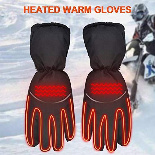 Elektrische Beheizbare Handschuhe Handwärmer, Winddicht Wasserdicht, Anti-Rutsch Batteriekasten Heizung Reflektierende Handschuhe, Touchscreen Sporthandschuhe Für Motorrad Radfahren Camping Outdoor