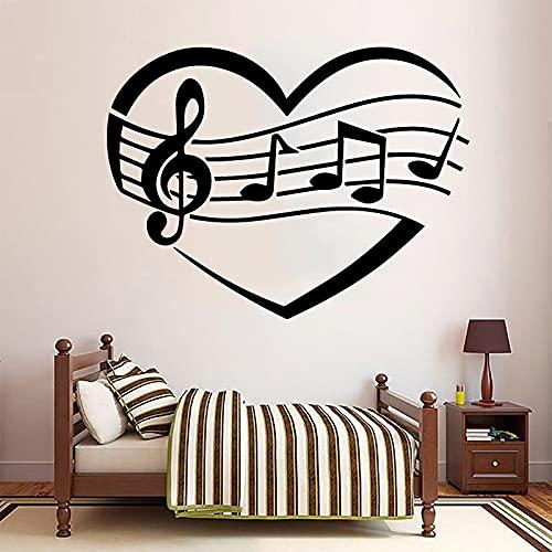 Música Amor Corazón Logo Notas musicales Personal Hoja Guitarra Vinilo Etiqueta de la pared Calcomanía artística Dormitorio Sala de estar Estudio Club Oficina Decoración para el hogar Mural