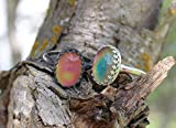 Mood Ring in THICK PLAIN OVAL Solid Sterling Cocktail 14x10mm Cocktail Glass Cab
