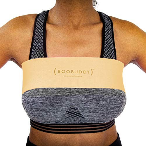 Booband Boobuddy Verstellbares Brustkompressionsband/Brust Unterstützung Band als Alternative zum Sport-BH, Beige