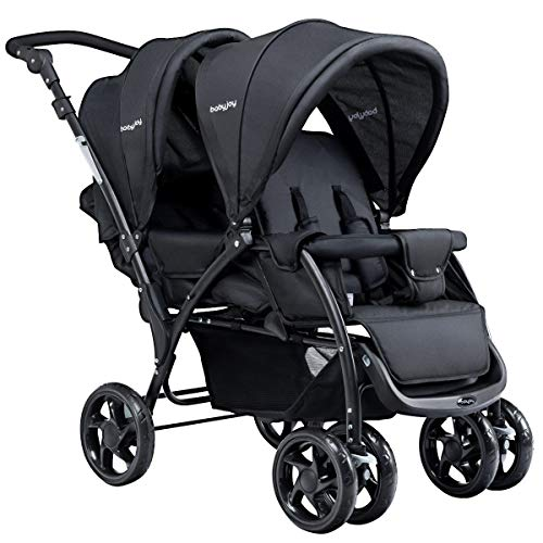 Sale!! Mandycng Twin Baby Folding Lightweight Stroller with Canopy Harness Footrest, Front Back Doub...
