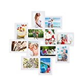 Adeco PF0205 Decorative Wood Wall Hanging Collage Picture Photo Frame, 12 Openings, 4x6 (White), 4 x 6-Inch