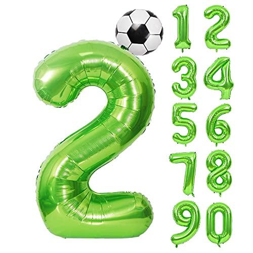 "40 Zoll 0 - 9 XXL Grün Zahlen Folien Luftballon,18\""Fussball Folien-Ballon Ball 100cm Riesenzahl 2. Jahr Geburtstagsdeko Folienballon Helium Ballon für Geburtstag Hochzeit Jubiläum Party Dekoration"
