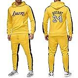JX-PEP Hombres 2 Piezas Establece Lakers 24 del chándal de los Hombres del Invierno del otoño Sudadera con Capucha con cordón Pantalones Masculinos de Baloncesto Sudaderas,Yellow-L